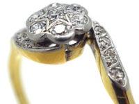 Edwardian 18ct Gold & Platinum Crossover Diamond Cluster Ring