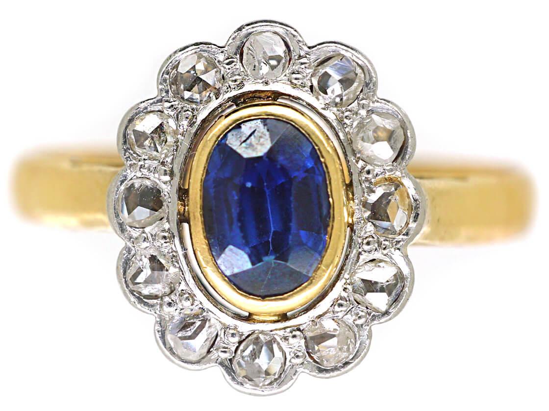 Edwardian 18ct Gold & Platinum, Sapphire & Rose Diamond Oval Cluster Ring
