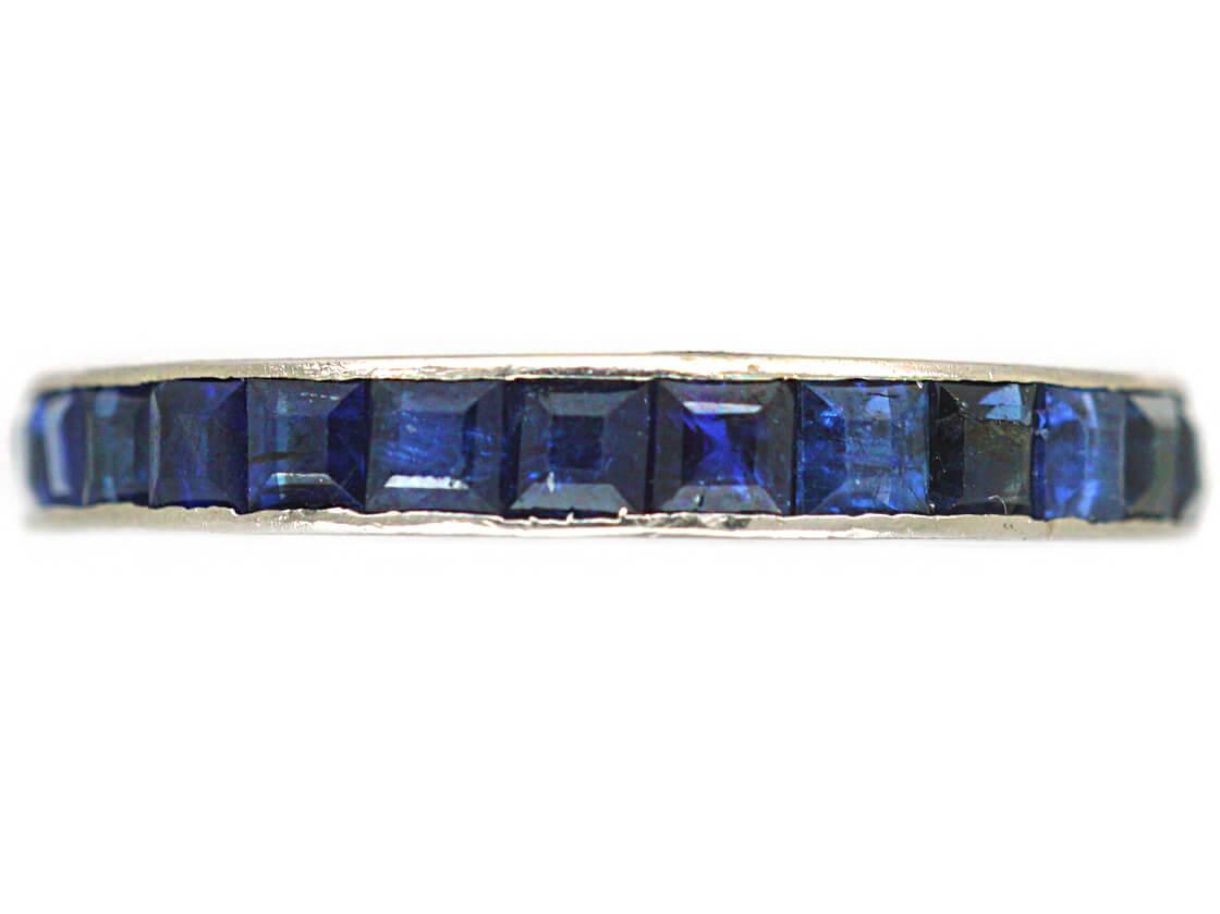 Art Deco 18ct White Gold & Sapphire Eternity Ring