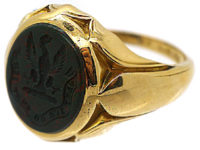 Victorian 18ct Gold & Bloodstone Signet Ring with an Eagle Intaglio