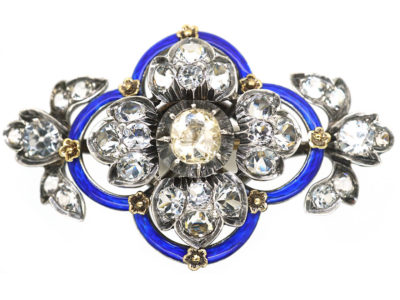 Victorian Silver, Blue Enamel & Paste Flower Brooch