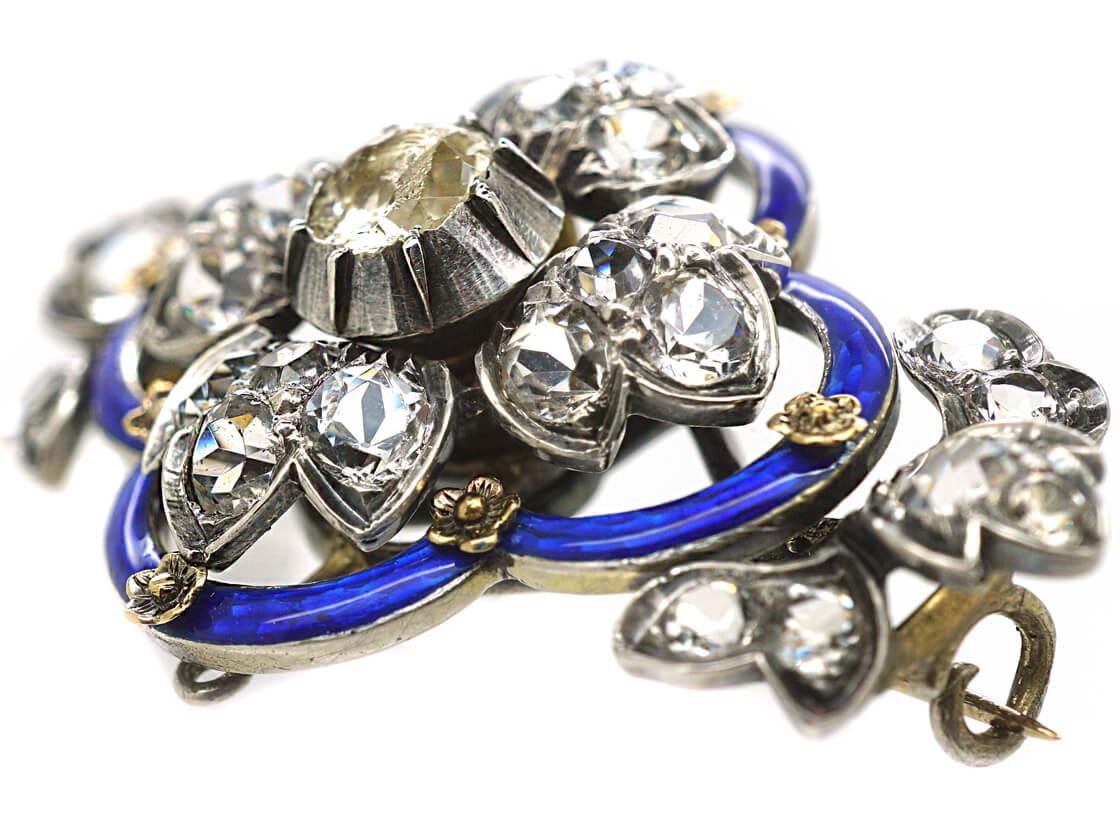 Victorian Silver, Blue Enamel & Paste Flower Brooch