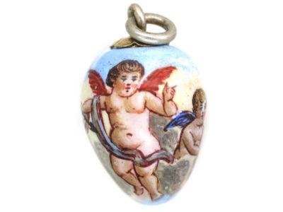 Edwardian Silver & Enamel Cupid Egg Shaped Pendant