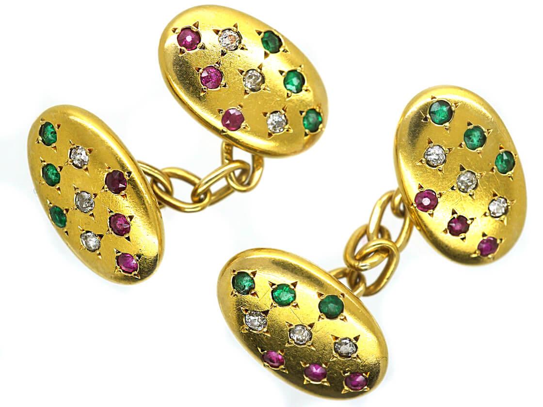 Belle Epoque 18ct Gold, Ruby, Diamond & Emerald Oval Cufflinks