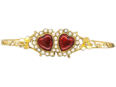 Edwardian 15ct Gold, Red Enamel & Natural Split Pearl Double Heart Bangle