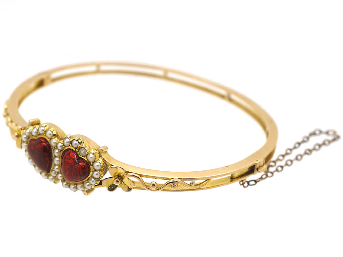 Edwardian 15ct Gold, Red Enamel & Natural Split Pearl Double Heart Bangle