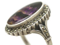 Silver, Blue John & Marcasite Ring