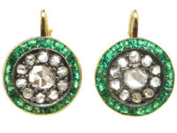 Art Deco 18ct Gold, Diamond & Emerald Target Earrings