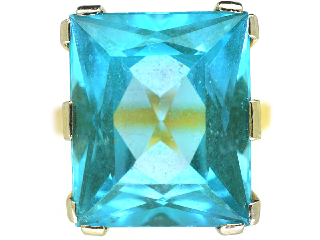 18ct Gold Synthetic Blue Spinel Ring