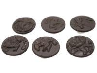 Six French Metal & Black Enamel Hunting Buttons