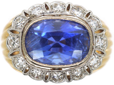 14ct Gold Large Oval Sapphire & Diamond Cluster Ring