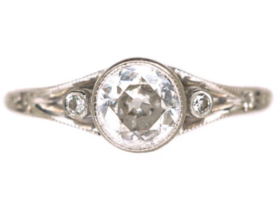 Art Deco 14ct White Gold Diamond Solitaire Ring
