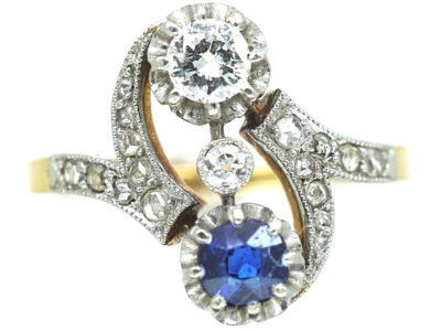 Art Nouveau 18ct Gold & Platinum, Sapphire & Diamond Twist Ring