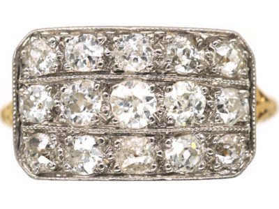 Edwardian 18ct Gold & Platinum Three  Row Diamond Ring