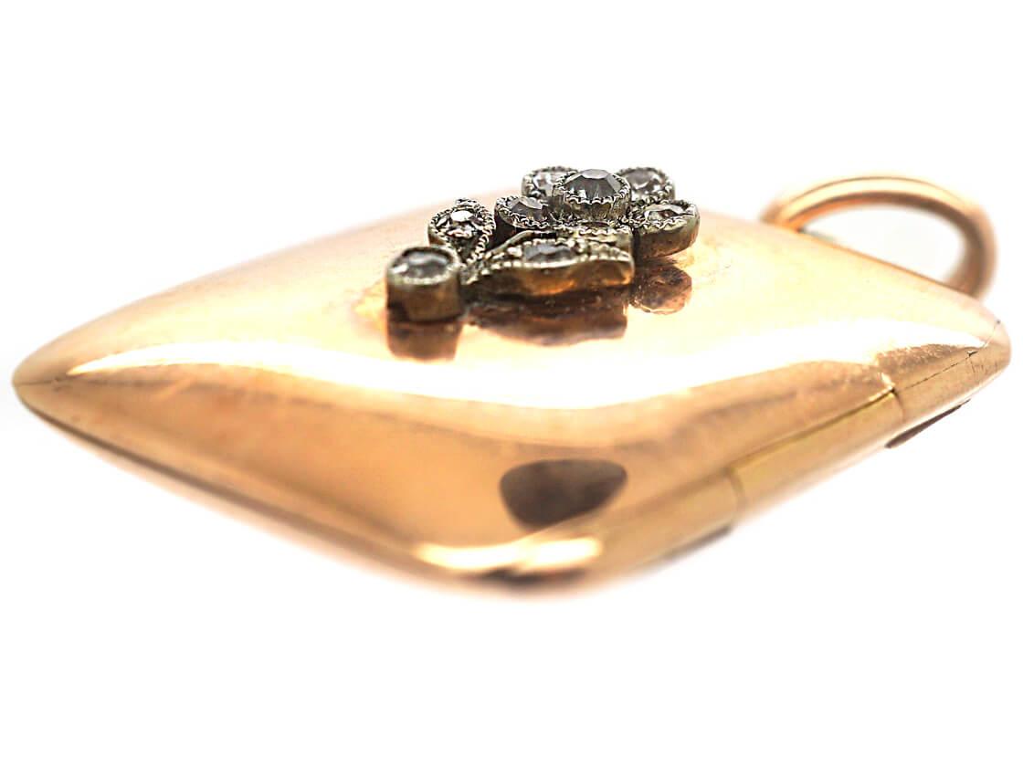 Edwardian 14 ct Gold Rectangular Locket with Diamond Set Flower