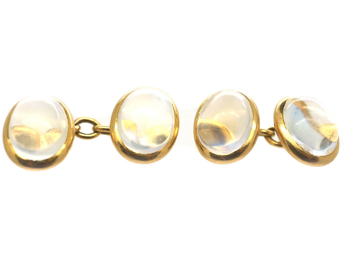 French Belle Epoque 18ct Gold & Moonstone Cufflinks