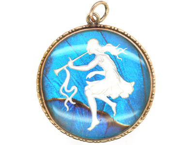 Art Deco 9ct Gold, Butterfly Wing & Sulphide Pendant of a Dancing Nymph with Trumpet