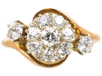 Edwardian 18ct Gold & Diamond Cluster Crossover Ring