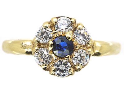 Edwardian 15ct Gold, Sapphire & Diamond Cluster Ring