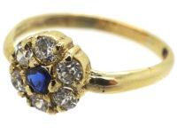Edwardian 15ct Gold, Sapphire & Diamond Cluster Ring
