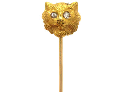 Edwardian 18ct Gold Cat Tie Pin with Diamond Eyes