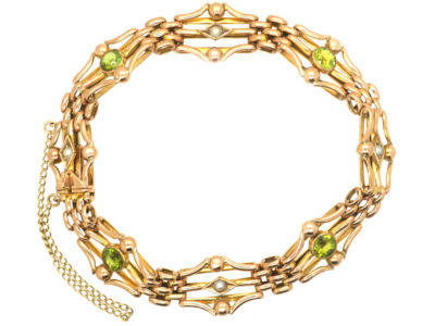 Edwardian 9ct Gold Peridot & Natural Split Pearl Bracelet