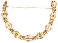 Edwardian 9ct Gold Peridot & Natural Split Pearl Bracelet