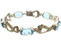 Art Deco Silver, Marcasite & Synthetic Blue Spinel Bracelet