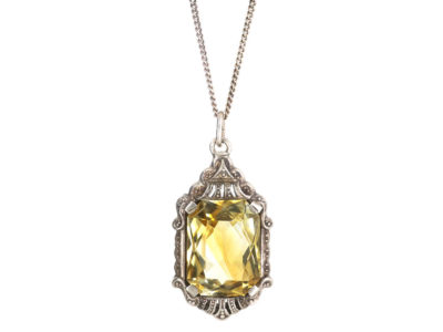 Art Deco Silver & Citrine Pendant on Silver Chain