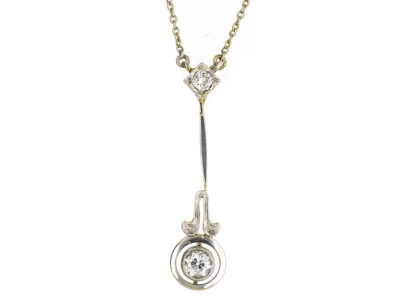 Art Deco Platinum & 15ct Gold Two Diamond Drop Pendant