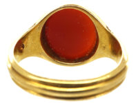 Victorian 18ct Gold Signet Ring set with a Banded Carnelian