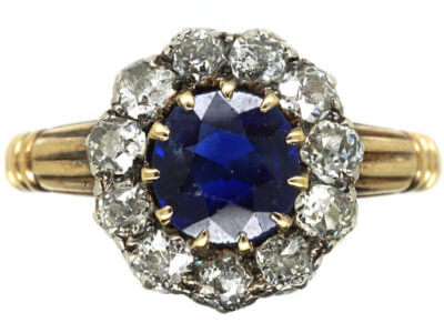 Edwardian 18ct Gold, Sapphire & Diamond Cluster Ring