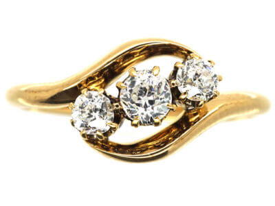 Edwardian 18ct Gold, Three Diamond Crossover Ring