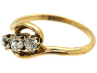 Edwardian 18ct Gold, Three Diamond Crossover Ring