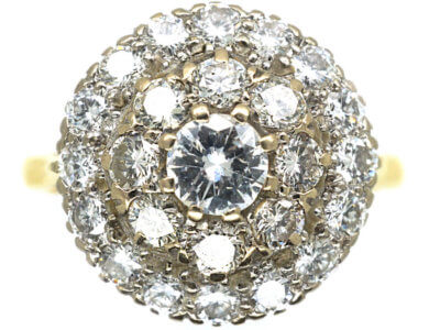 18ct Gold & Diamond Three Row Cluster Ring