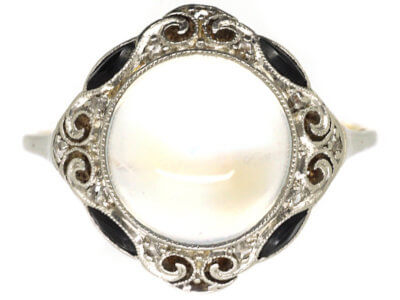 Art Deco 18ct Gold & Platinum, Onyx, Rose Diamond & Moonstone Ring