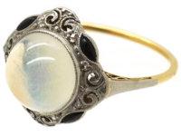 Art Deco 18ct Gold & Platinum, Onyx, Rose Diamond & Moonstone Ring