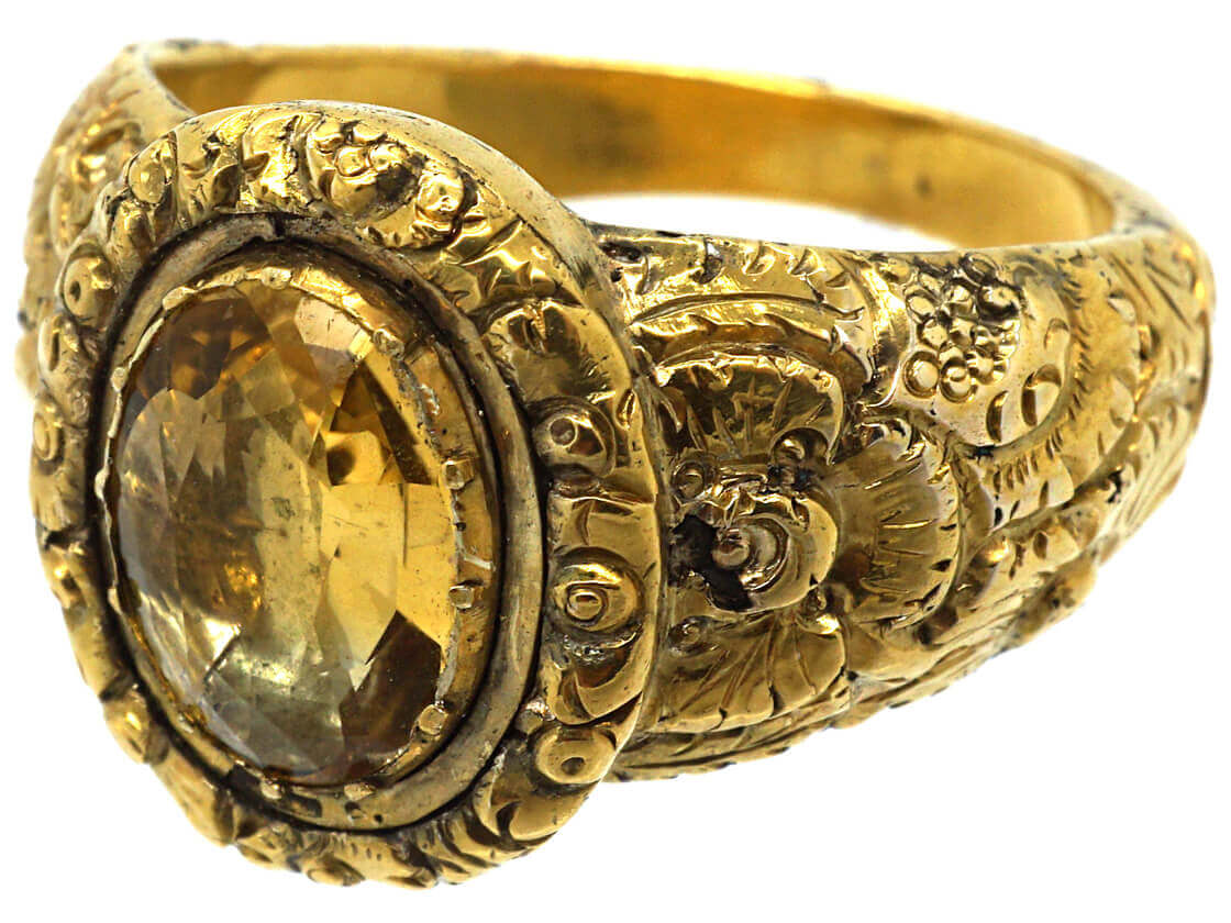 Georgian 18ct Gold Repoussé Ring set with a Foiled Citrine