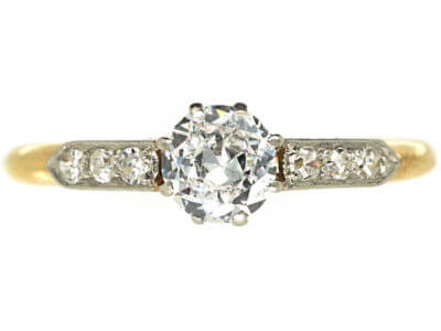 Edwardian 18ct Gold & Platinum Diamond Solitaire Ring with Diamond Set Shoulders