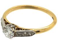 Edwardian 18ct Gold & Platinum Diamond Solitaire Ring with Diamond Set Shoulders