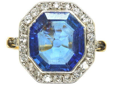 Art Deco 18ct Gold & Platinum, Sapphire & Diamond Octagonal Ring