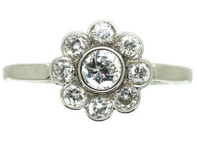 Austrian Early 19th Century 18ct White Gold Diamond Daisy Cluster Ring