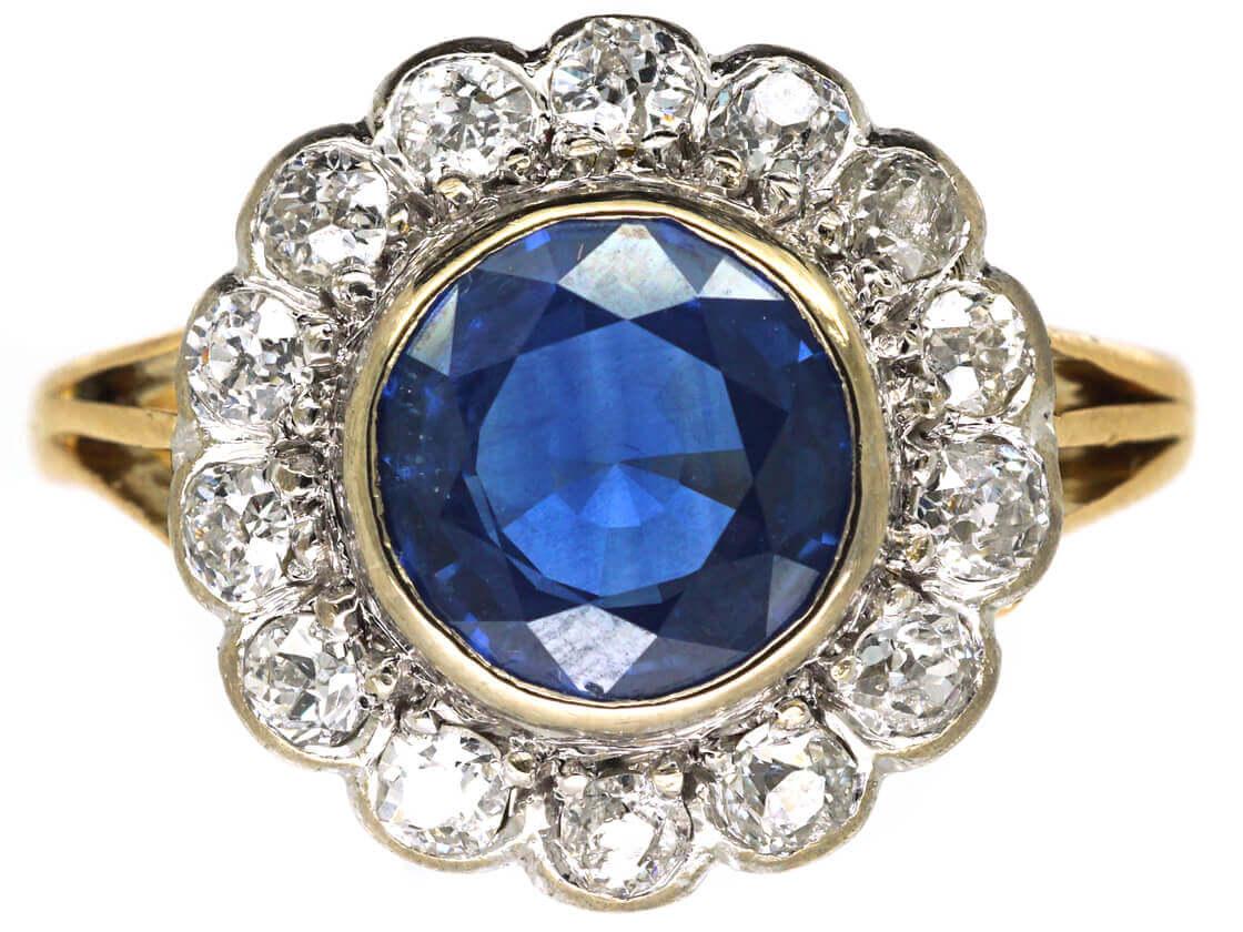 18ct Gold & Platinum, Large Sapphire & Diamond Cluster Ring