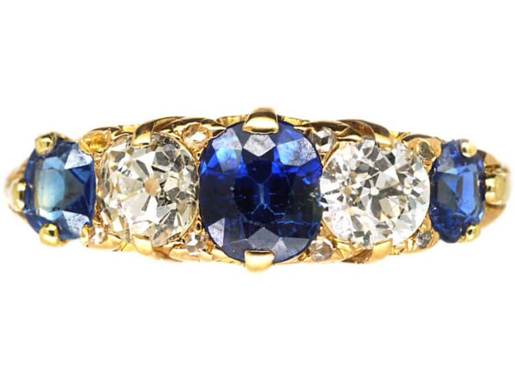 7e986444c6127 Victorian 18ct Gold, Five Stone Sapphire & Diamond Carved Half Hoop Ring -  The Antique Jewellery Company