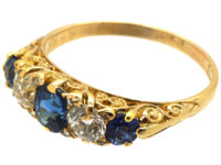 Victorian 18ct Gold, Five Stone Sapphire & Diamond Carved Half Hoop Ring