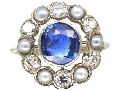Edwardian 18ct Gold & Platinum, Sapphire, Natural Split Pearl & Diamond Cluster Ring