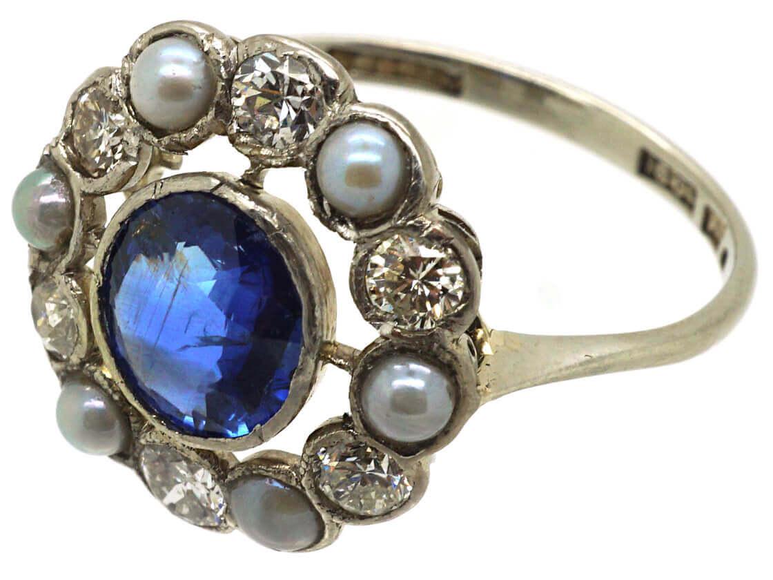 Edwardian 18ct Gold & Platinum, Sapphire, Natural Split Pearl & Diamond Cluster Ring