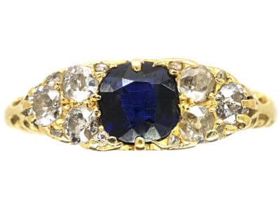 Edwardian 18ct Gold Carved Half Hoop Sapphire & Diamond Ring