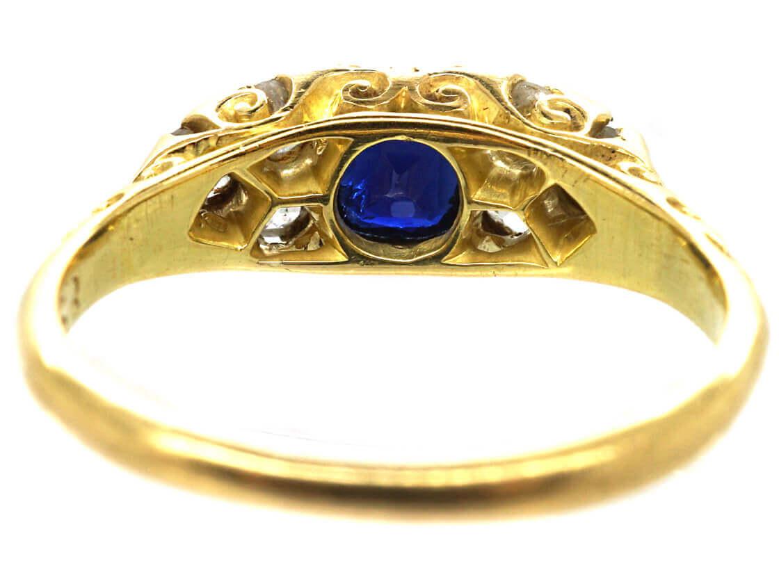 Edwardian 18ct Gold Carved Half Hoop Sapphire & Diamond Ring