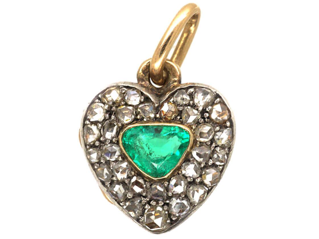 Edwardian Emerald & Rose Diamond Heart Shaped Locket